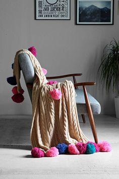 Plum & Bow Chunky Pompom Throw Blanket I am really liking the PomPoms Pouf En Crochet, Chunky Crochet, Carpet Squares, Textiles, Knitted Blankets, My New Room, Carpet Runner, My Dream Home, Plaid