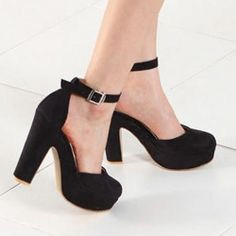 Fashion and Sweet Style Buckle Thick Heel Design Comfortable Women's Pumps
