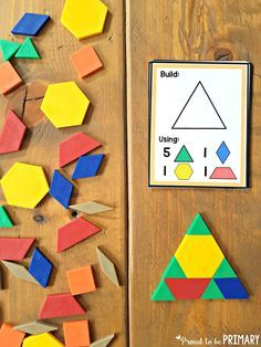 Learn and build with the geometry and shapes for kids. Tons of fun math activities included and a FREE pattern block symmetry activity! Preschool Math, Kindergarten Math, Teaching Math, Math Classroom, Shapes Activities For Kindergarten, Kids Math, Montessori Classroom, Symmetry Activities, Shapes For Kids