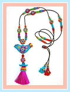 ~ Happy Bird ~ Fimo Jewelry