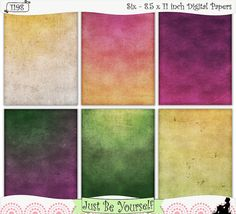 Grungy Ombre Floral Hues Printable Art Journal or Scrapbook Papers by JustBYourself, (1198) $2.75