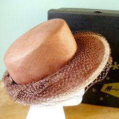 1930s Brown Straw Hat, Vintage Marion Valle New York Brown Straw Boater Hat with Veil on Brim, Easter Spring Tea Hat