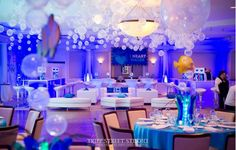 Underwater Themed Bat Mitzvah with Custom Lounge, Bubbles over Dance Floor & Underwater Centerpieces at Hampshire Country Club, NY Bat Mitzvah Themes, Bar Mitzvah Party, Quinceanera Decorations, Outdoor Wedding Decorations, Prom Decor, Balloon Centerpieces, Balloon Decorations, Bat Mitzvah Centerpieces, Sweet Sixteen