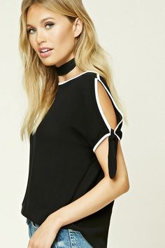 Forever 21 Contemporary - A woven top featuring a dolphin hem, contrast piping, a round neckline, short sleeves with cutouts and self-ties, and a boxy silhouette.