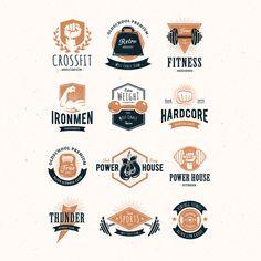Coloured fitness logo collection Premium Vector