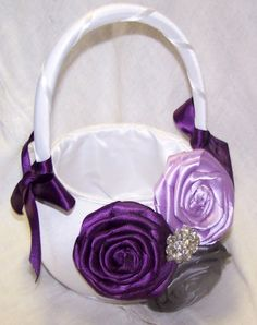 This listing is for a Satin Flower Girl Basket (white or ivory, ring pillow sold separately) Features 3 handmade rosettes (pictured in dark Plum, Lilac Plum Flowers, Satin Flowers, Colorful Flowers, Flower Colors, Platinum Wedding, Purple Wedding, Lilac Flower Girl Dresses, Flower Girls, Elegant Wedding Colors
