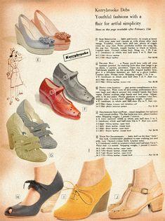 Building a Vintage Wardrobe: Shoes / Va-Voom Vintage   Vintage Fashion, Hair Tutorials and DIY Style Fashion Moda, 1940s Fashion, Fashion Shoes, Vintage Fashion, Fashion Hair, Timeless Fashion, Vintage Inspired Shoes, Vintage Shoes, Vintage Accessories