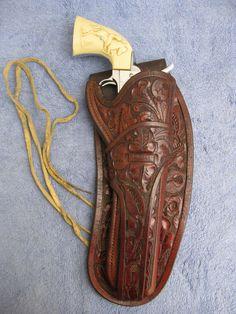 """Original Early 1900s SD MYRES El Paso TX TEXAS JOCKSTRAP HOLSTER COLT SAA 7 1/2"""" #SDMyres #Hip"""