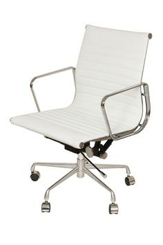 Daric Low Back Aluminum Executive Office Chair Grey Leather