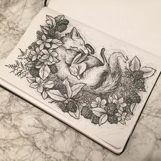Bunny and fox, friends between flowers. With fineliner.