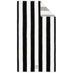 Pottery Barn Reversible Awning Stripe Beach Towel ($39) ❤ liked on Polyvore featuring home, bed & bath, bath, beach towels, filler, black, monogrammed beach towels, pottery barn, pottery barn beach towels and stripe beach towel