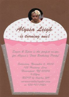 Handmade Cupcake Invitation. Personalized by ChristyCustomCreates, $25.00