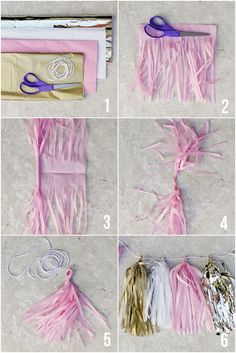 How to Make Tissue Paper Tassel Garland! Such a cute party craft and it's super … How to Make Tissue Paper Tassel Garland! Such a cute party craft and it's super easy and inexpensive! Pink Und Gold, Rose Gold, Hen Party Decorations, Birthday Highchair Decorations, Lingerie Shower Decorations, Office Birthday Decorations, Easy Decorations, Baby Shower Decorations, Tissue Paper Garlands