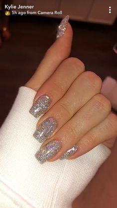 Prom nails, bling nails, my nails, nails silver glitter nails, New Year's Nails, Love Nails, Fun Nails, Hair And Nails, Silver Glitter Nails, Bling Nails, Glittery Acrylic Nails, Sparkle Gel Nails, Matte Nails