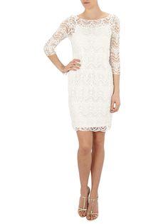 Damen LAUREN-RALPH-LAUREN Kleid im 2-in-1-Look aus Häkelspitze in Offwhite: ✔ Damenkleid von Lauren Ralph Lauren ✔ Reine Baumwolle ✔ Jetzt online bei FASHION ID bestellen! €189,95