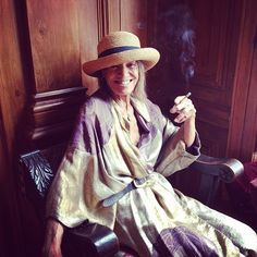Anita Pallenberg in her 30s lame dressing gown, pirate belt, Cambridge hat and ciggie - #oneinamillion