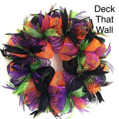 Orange Purple Black Halloween Mesh Wreath