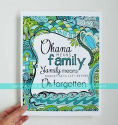 Ohana Family Teal Seafoam Turquoise 8 x 10 Art by penandpaint, $17.50
