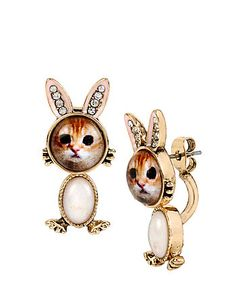 COSTUME CRITTERS BUNNY KITTY FRONT BACK EARRINGS