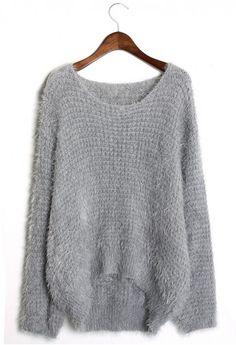 Sheinside Grey Long Sleeve Loose Sweater (one size, Grey ...