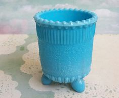Beautiful Victorian Blue Milk Decorative Pressed Glass Beaker or Spill Vase - quality English Glass making history, very rare design. Lion mark for Davidson to the inside basin. Condition: Excellent, no chips or cracks Size: Height Width Depth Turquoise Glass, Nautical Fashion, Pressed Glass, Etsy Uk, Milk Glass, Contemporary Style, The Hamptons, Wedding Gifts, Glass Art