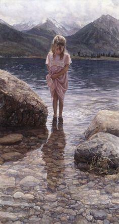 Wading in the creek. - by artist Steve Hanks -- (summer, nature, art, illustration) Watercolor Portraits, Watercolor Paintings, Watercolors, Art Paintings, Kunst Online, Illustration Art, Illustrations, Rembrandt, Fine Art