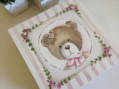 Ted Bear, Pintura Country, Watercolor Art, Diy And Crafts, Shabby Chic, Scrap, Baby, Gifts, Animals