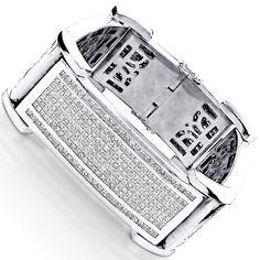 14K Gold Men's Celebrity Designer Diamond Bracelet 85ct Princess Diamonds