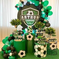 Soccer Birthday Parties, Sports Birthday, Soccer Party, Boy First Birthday, Banquet Decorations, Party Decoration, Soccer Banquet, Football Themes, Dream Party