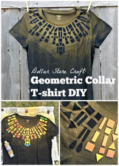 Dollar Store Craft: Geometric Collar T-shirt DIY - super easy to make with foam stickers and fabric spray paint Bleach Shirt Diy, T Shirt Diy, Paint Shirts, Fabric Paint Shirt, Altering Clothes, Dollar Store Crafts, Clothing Hacks, How To Dye Fabric, Diy Craft Projects