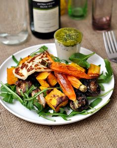 vegetables plate with haloumi