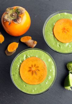 If you've followed for a while you know my love for persimmons. Autumn for  me is not just Hibernation Preparation Season, but also Persimmon Season. I  wait all year for these guys to show up. They're finally here and making  their debut in this smoothie.