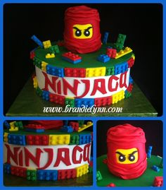 Ninjago Lego - Buttercream iced w/ Fondant accents. All legos were hand cut.  Ninjago head was RKT covered in fondant.  Saw a few Ninjago cakes on the internet and this is my version!