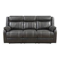 Valor Carbon Black Dual Reclining Sofa - Domino