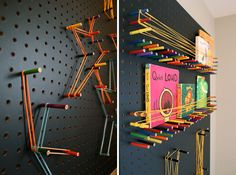 Use pegboards, colored pencils and string to DIY this book shelf.
