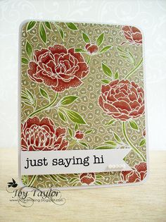 I pretty much love any card that is made by Joy Taylor, be sure to check out her blog! I've pinned at least four cards now that have a kraft background with white embossing powder and the @Hero Arts Flower Background looks different everytime.