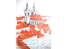 Drawing of Prague. Old church drawing. Rysunek architektury w Pradze. Rysunek starego kościoła