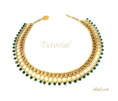Cleo Necklace or choker is very elegant and shiny with Swarovski pearls light gold, Swarovski emerald bicones and Miyuki seed beads gold.