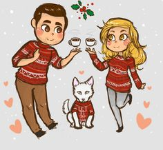 Fan art of Kirstin, Jeremy, and Olaf.