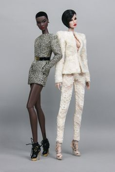 "Broad shoulder structured jacket in cream faux fur  	Skinny pants in cream lace  	Both fully lined  	Jacket (front closure with hook)  	Pants (Back closure with hook)  	Doll & other accessories are not included.  	Fits most 12"" fashion dolls (e.g. Fashion Royalty, Nuface, Colour Infusion, Barbie etc)"