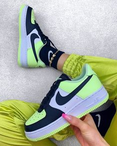 Neon Shoes, Cute Nike Shoes, Cute Sneakers, Hype Shoes, Shoes Sneakers, Footwear Shoes, Nike Shoes Air Force, Nike Air Force Ones, Nike Fashion
