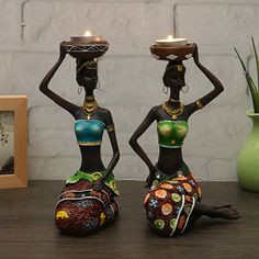 African Women Resin Statue Candlestick Home Decoration Craft Statue Dinner Wedding Gift Home Decor Sculpture Gift African Interior, African Home Decor, African Room, African Art, African Style, African Dolls, African Women, African Fashion, African Suits