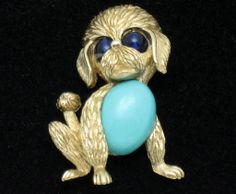 Vintage CROWN TRIFARI  Glass Belly Figural Poodle Dog Brooch