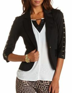 studded faux leather ponte blazer