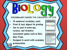 Develop and increase the academic vocabulary skills of biology ...