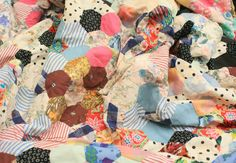 Vintage Handmade Hexagons Patchwork Quilt by pinkgreen on Etsy