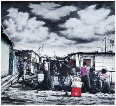An original work by Phillemon Hlungwani entitled: Homu yo tshama yi nga humi exivaleni ku ya dya byasi a yi na vulongo (If you never leave your homestead, you will never prosper) mixed media on paper 151 X 160cm For more please visit www.finearts.co.za Fine Art Gallery, Art Images, Homestead, Mixed Media, Africa, Artists, Studio, Paper, Photos