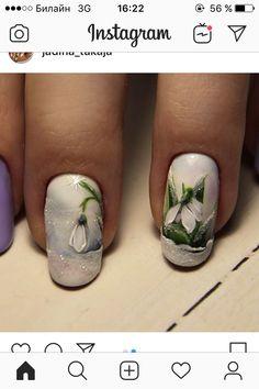 Green Nail Art, Black Nail Art, Green Nails, White Nails, Flower Nail Designs, Flower Nail Art, Nail Art Designs, Spring Nails, Summer Nails