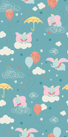 Disney Dumbo Clouds Flannel Fabric