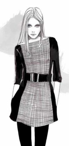 Fashion illustration - black & white fashion drawing // Lena Ker